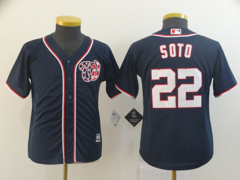 Nationals 22 Juan Soto Navy Youth Cool Base Jersey