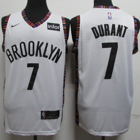 Nets 7 Kevin Durant White City Edition Nike Swingman Jersey