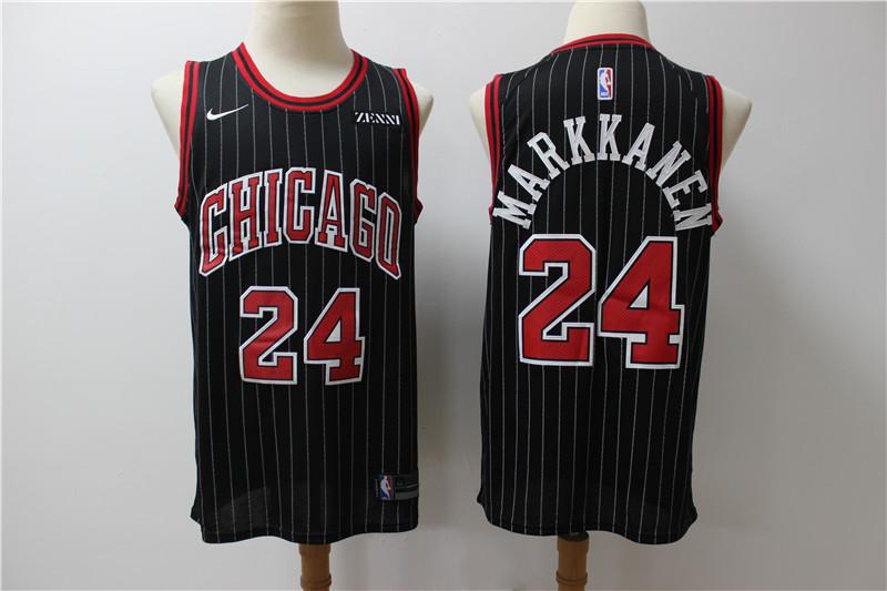 Bulls 24 Laur Markkanen Black Nike Swingman Jersey