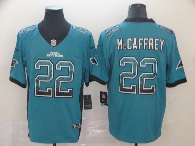 Nike Panthers 22 Christian McCaffrey Blue Drift Fashion Limited Jersey