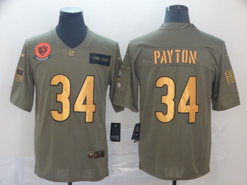 Nike Bears 34 Walter Payton 2019 Olive Gold Salute To Service Limited Jersey