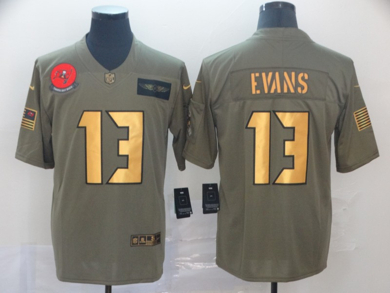 Nike Buccaneers 13 Mike Evans 2019 Olive Gold Salute To Service Limited Jersey