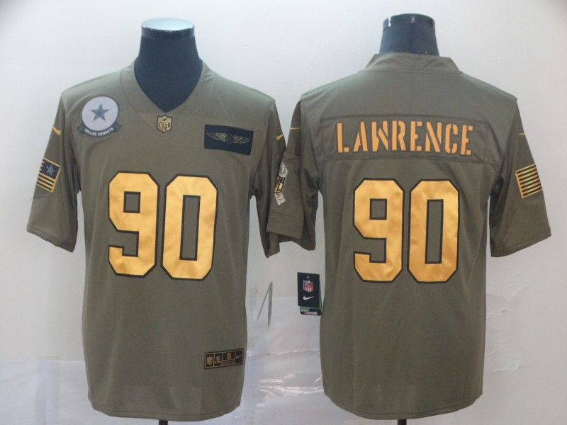 Nike Cowboys 90 Demarcus Lawrence 2019 Olive Gold Salute To Service Limited Jersey