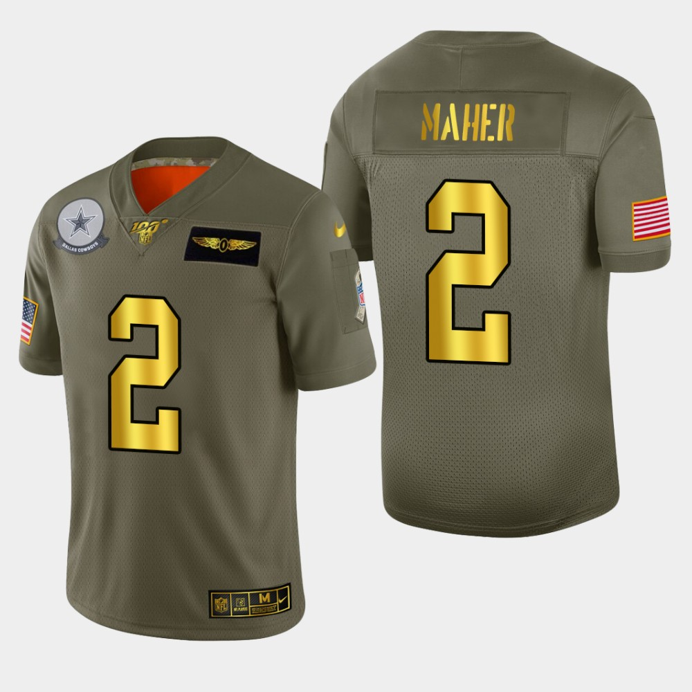 Nike Cowboys 2 Brett Maher 2019 Olive Gold Salute To Service 100th Season Limited Jersey