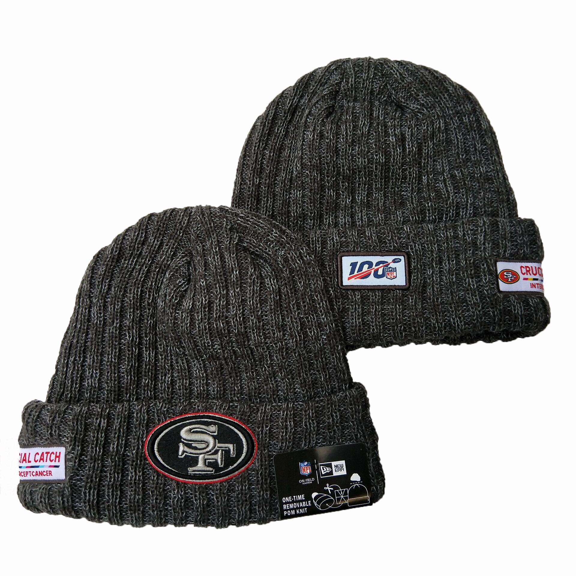 49ers Fresh Logo Gray 100th Season Pom Knit Hat YD