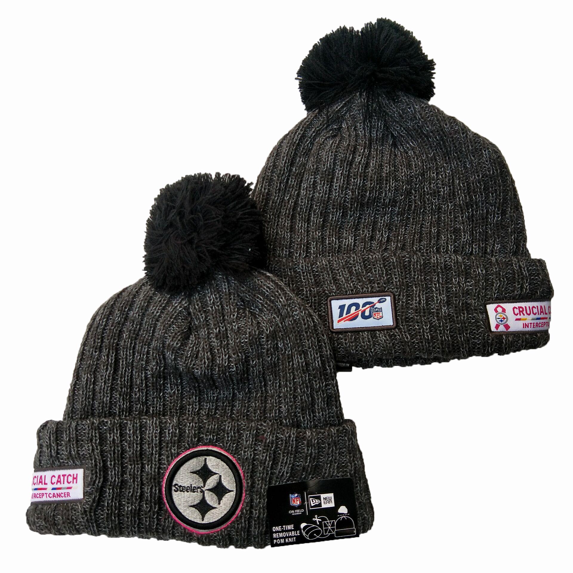 Steelers Team Logo Gray 100th Season Pom Knit Hat YD