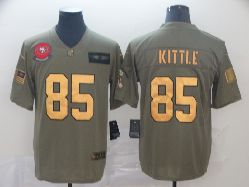 Nike 49ers 85 George Kittle 2019 Olive Gold Salute To Service Limited Jersey