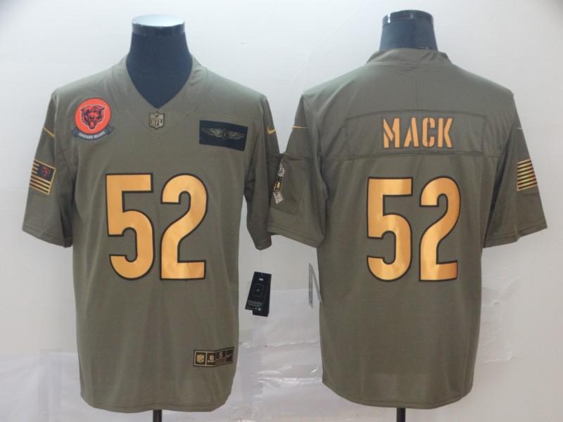 Nike Bears 52 Khalil Mack 2019 Olive Gold Salute To Service Limited Jersey