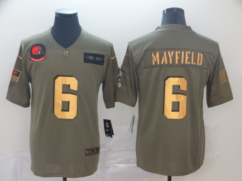 Nike Browns 6 Baker Mayfield 2019 Olive Gold Salute To Service Limited Jersey