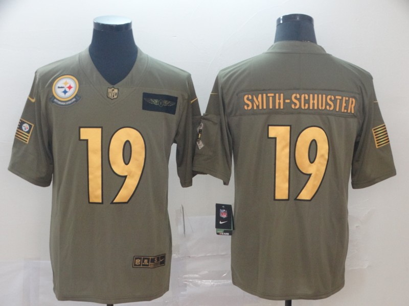 Nike Steelers 19 JuJu Smith Schuster 2019 Olive Gold Salute To Service Limited Jersey