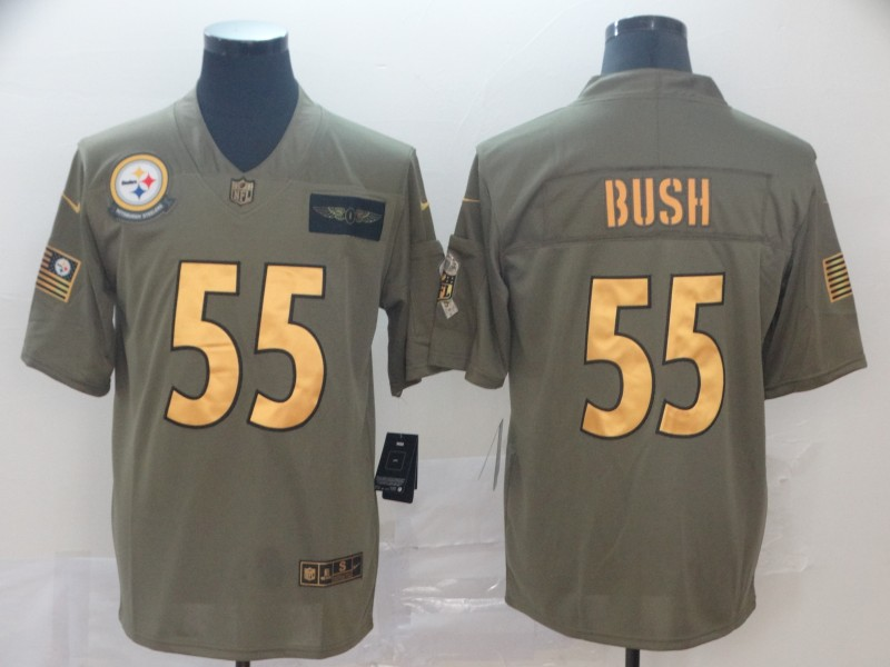 Nike Steelers 55 Devin Bush 2019 Olive Gold Salute To Service Limited Jersey