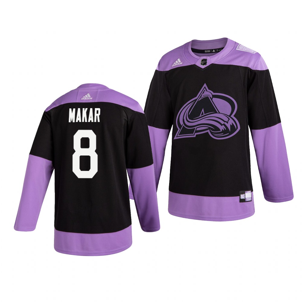 Avalanche 8 Cale Makar Black Purple Hockey Fights Cancer Adidas Jersey