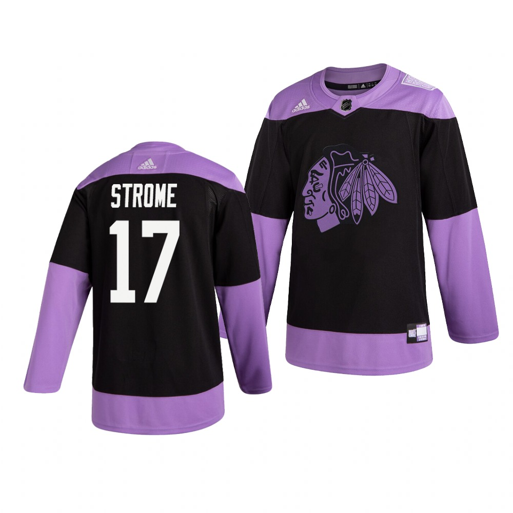 Blackhawks 17 Dylan Strome Black Purple Hockey Fights Cancer Adidas Jersey