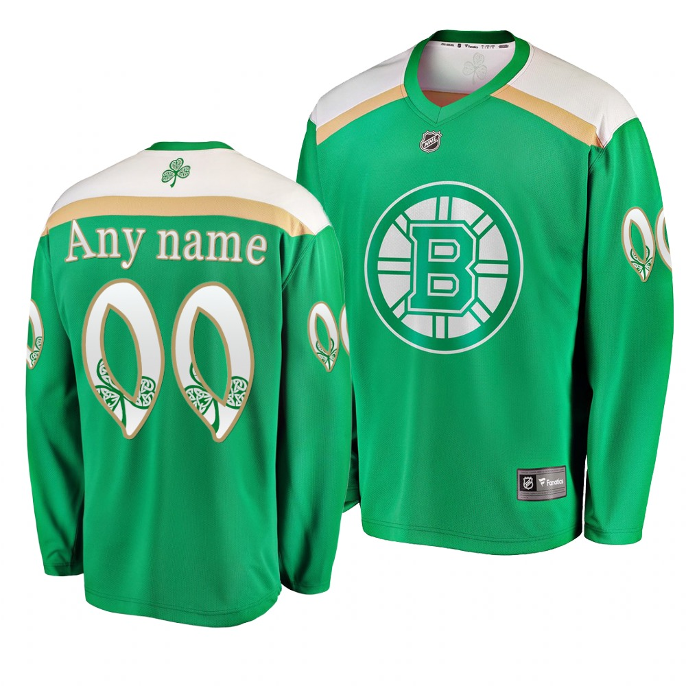 Bruins Customized Green 2019 St. Patrick's Day Adidas Jersey