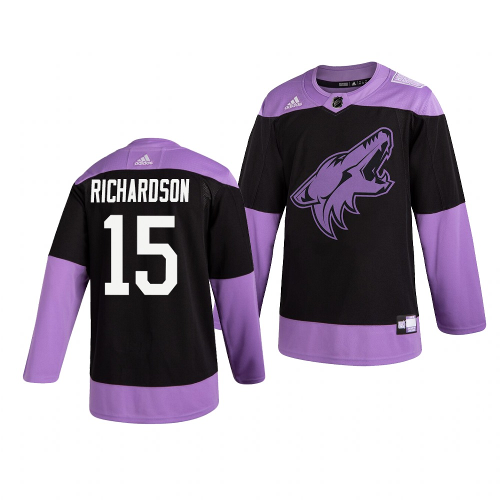 Coyotes 15 Brad Richardson Black Purple Hockey Fights Cancer Adidas Jersey
