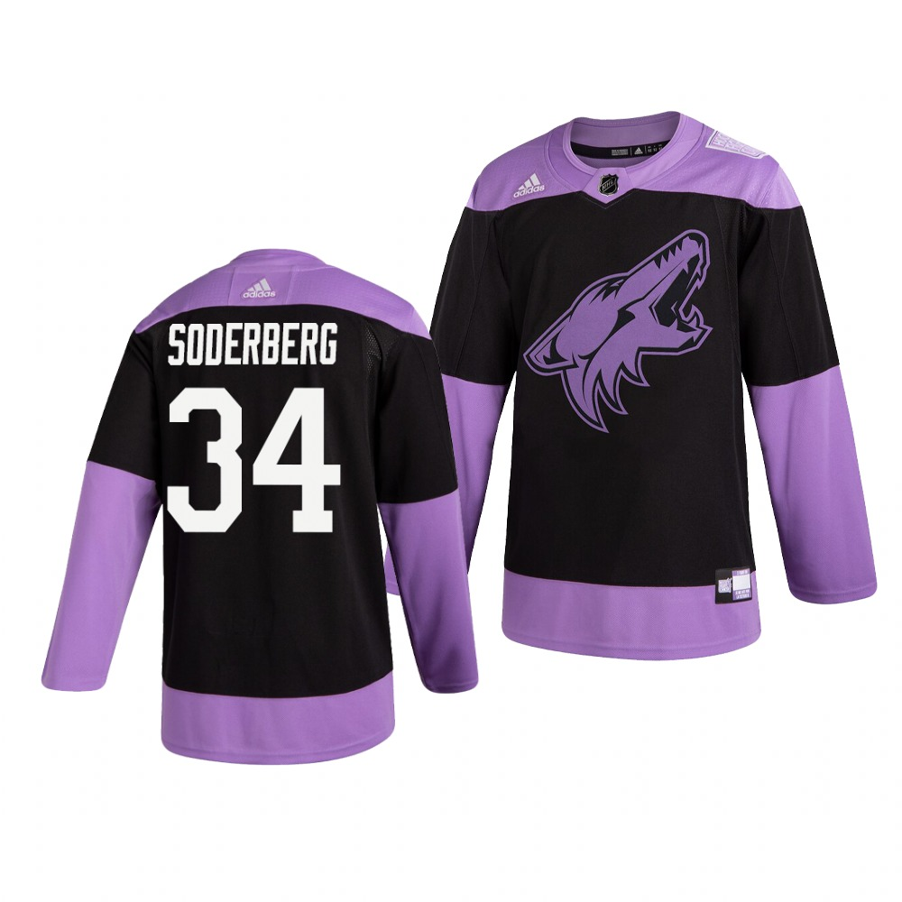 Coyotes 34 Carl Soderberg Black Purple Hockey Fights Cancer Adidas Jersey