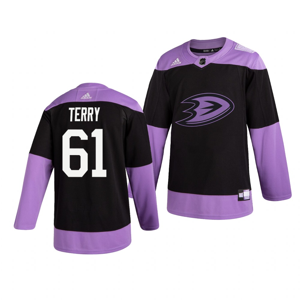 Ducks 61 Troy Terry Black Purple Hockey Fights Cancer Adidas Jersey