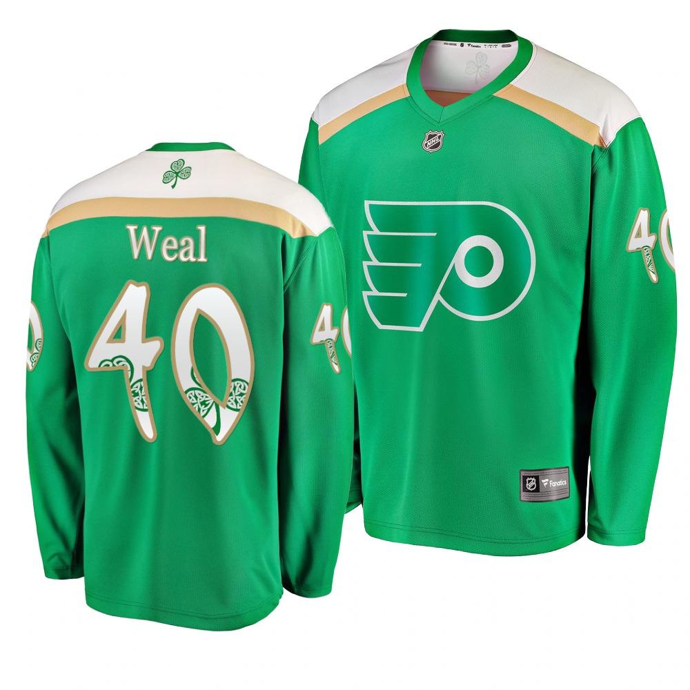 Flyers 40 Jordan Weal Green 2019 St. Patrick's Day Adidas Jersey
