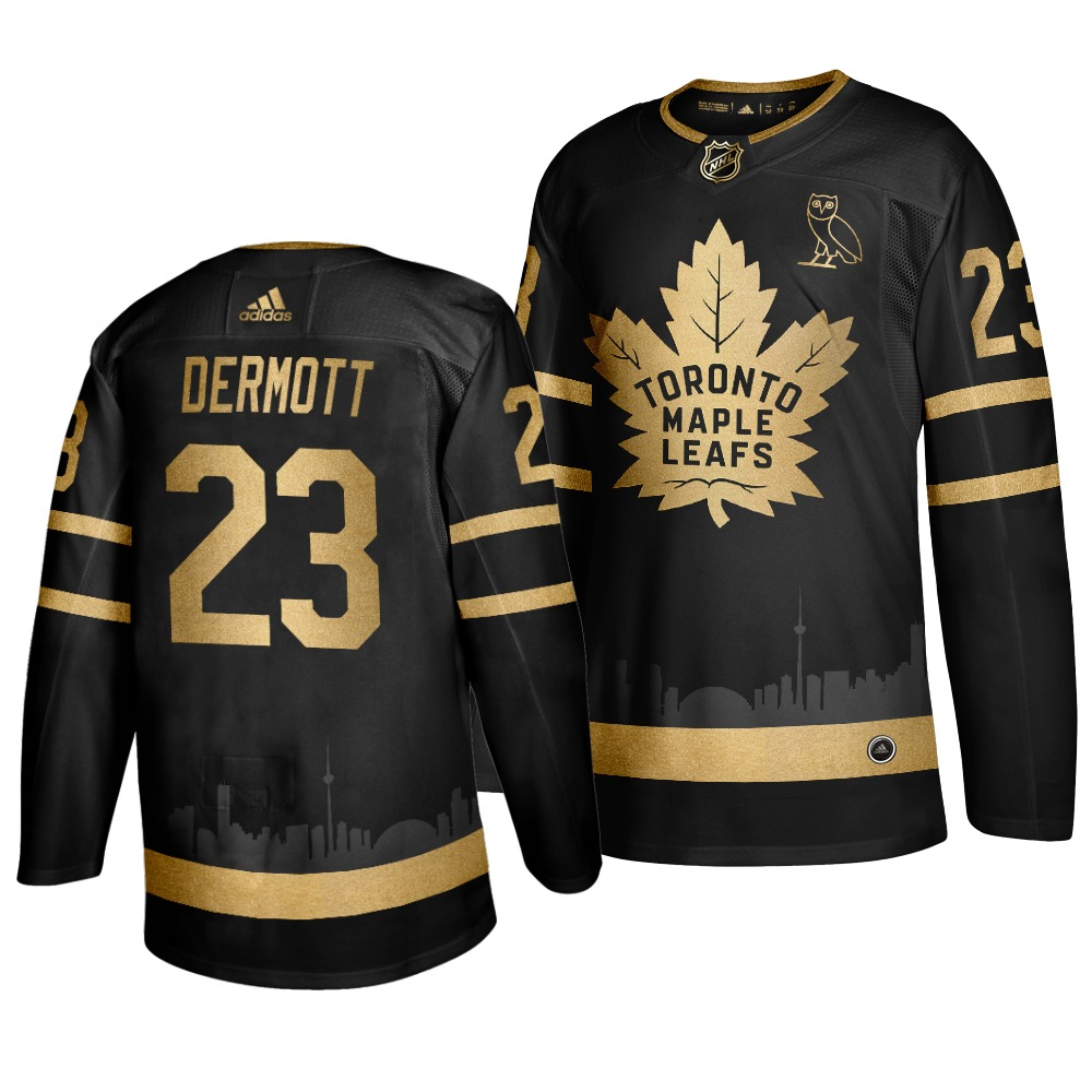Maple Leafs 23 Travis Dermott Black With Special Glittery Logo Adidas Jersey