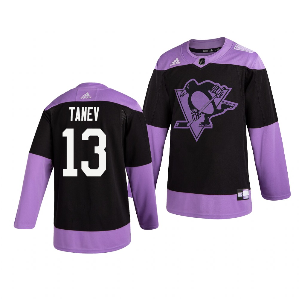 Penguins 13 Brandon Tanev Black Purple Hockey Fights Cancer Adidas Jersey
