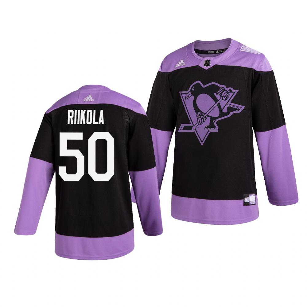 Penguins 50 Juuso Riikola Black Purple Hockey Fights Cancer Adidas Jersey
