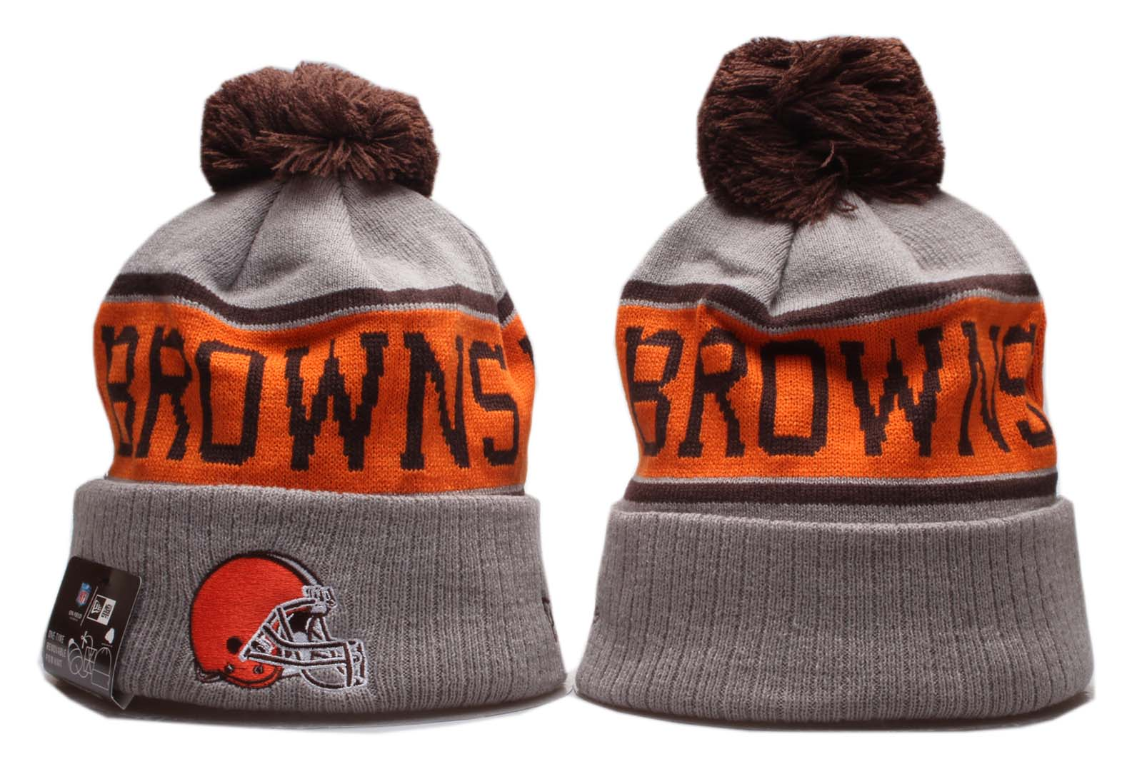 Browns Team Logo Gray Orange Pom Knit Hat YP