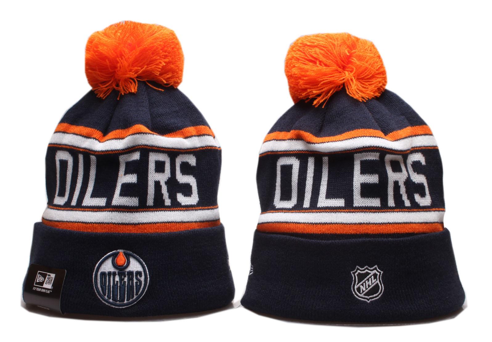 Oilers Team Logo Navy Pom Knit Hat YP