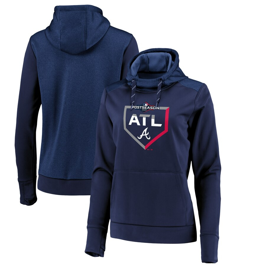 Atlanta Braves Majestic Women's 2019 Postseason Dugout Authentic Pullover Hoodie Navy