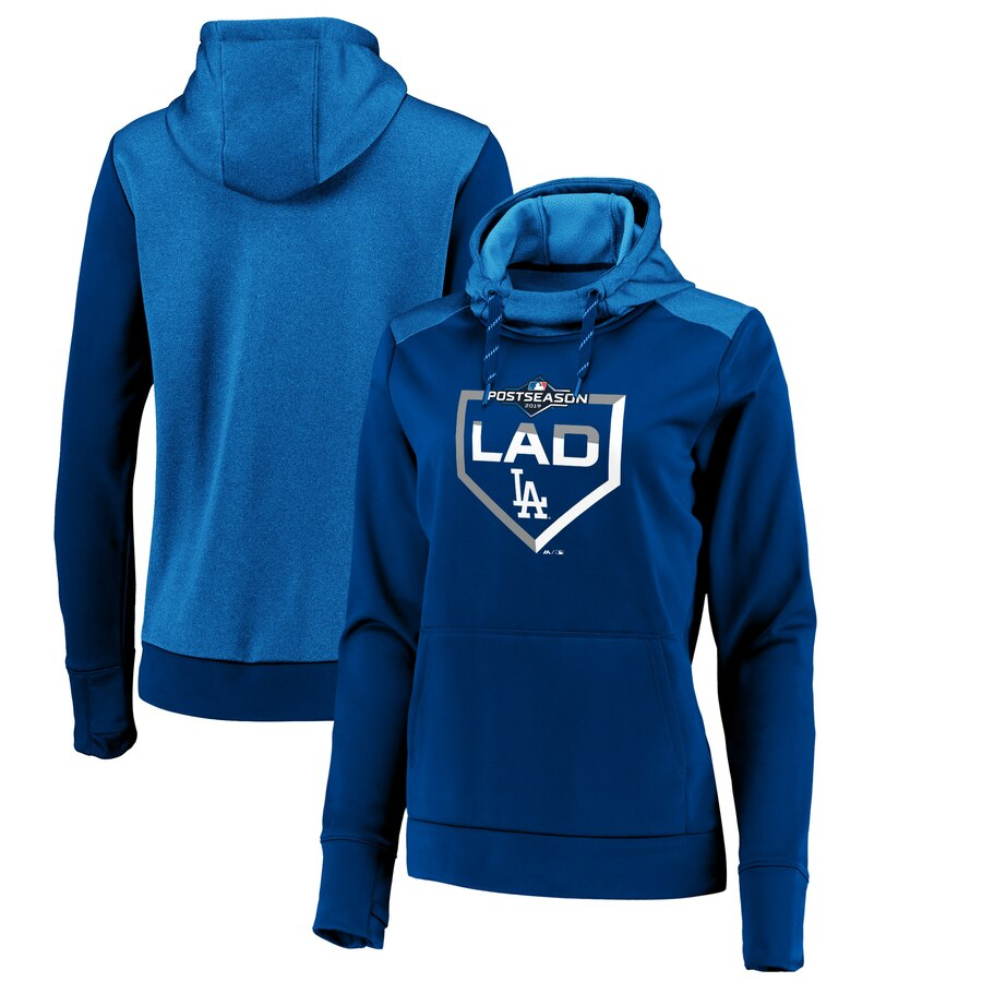Los Angeles Dodgers Majestic Women's 2019 Postseason Dugout Authentic Pullover Hoodie Royal