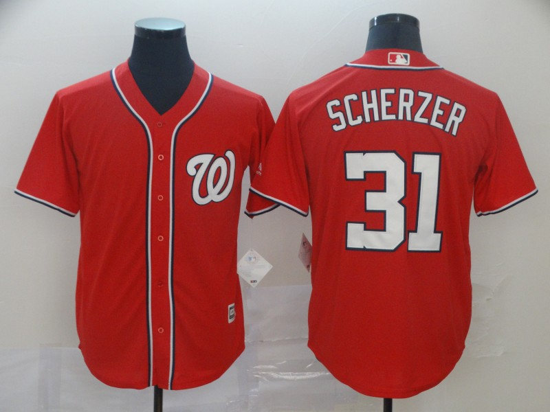 Nationals 31 Max Scherzer Red Cool Base Jersey