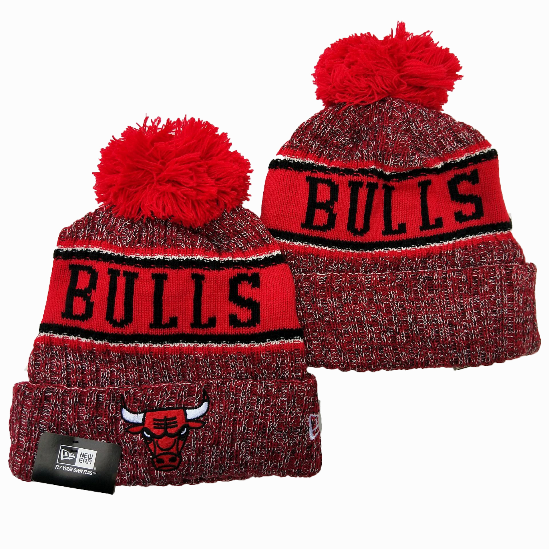 Bulls Team Logo Red Cuffed Pom Knit Hat YD