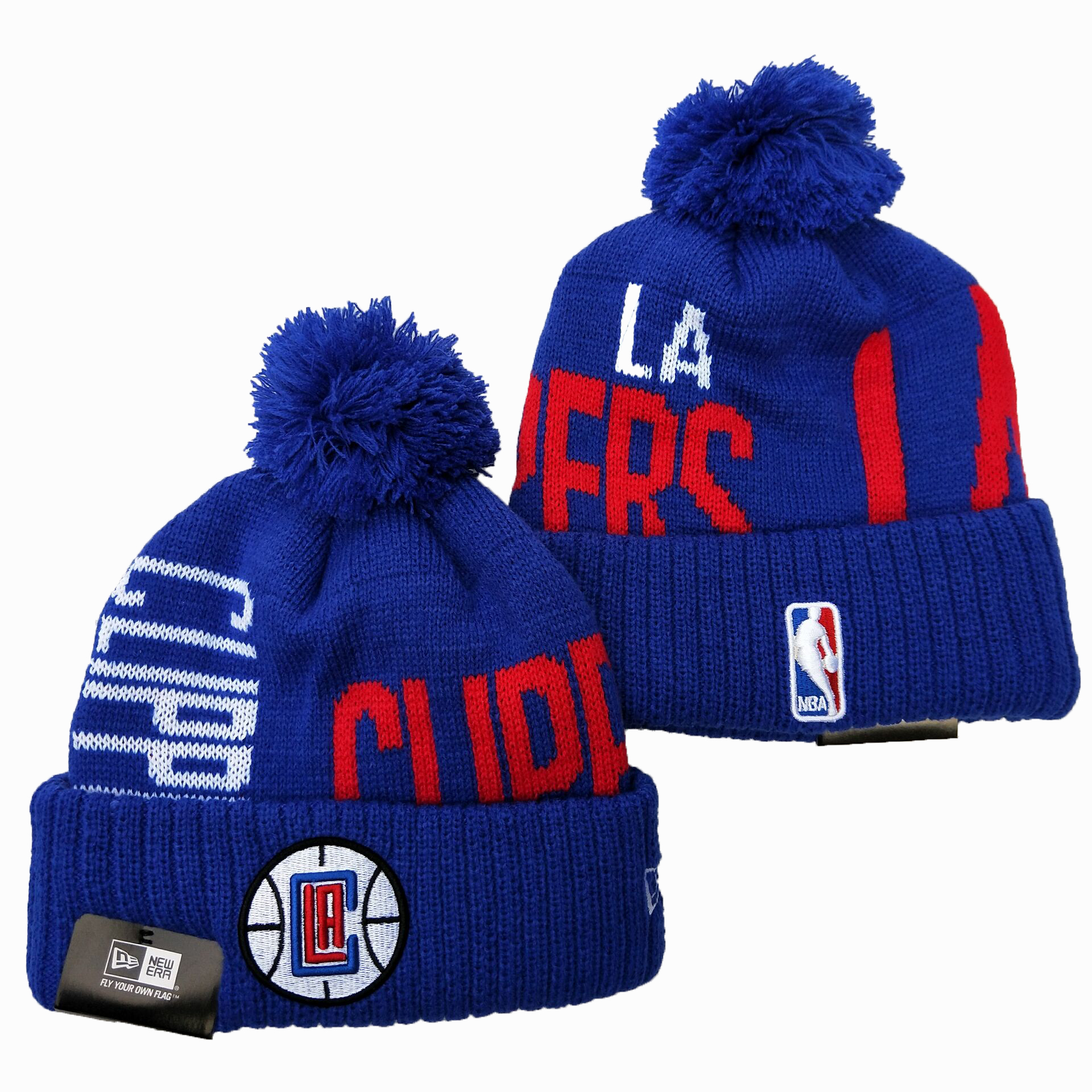 Clippers Team Logo Royal Wordmark Cuffed Pom Knit Hat YD