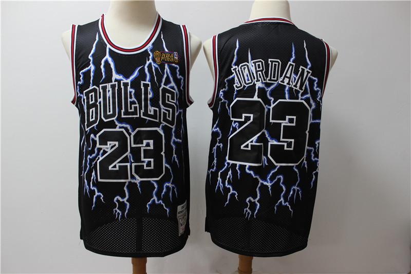 Bulls 23 Michael Jordan Black Hardwood Classics Lightning Limited Edition Jersey