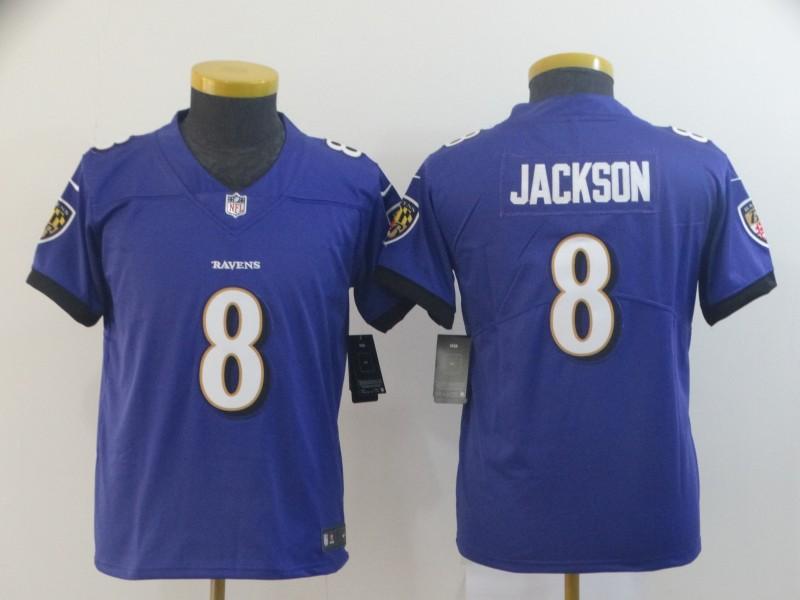 Nike Ravens 8 Lamar Jackson Purple Youth Vapor Untouchable Limited Jersey