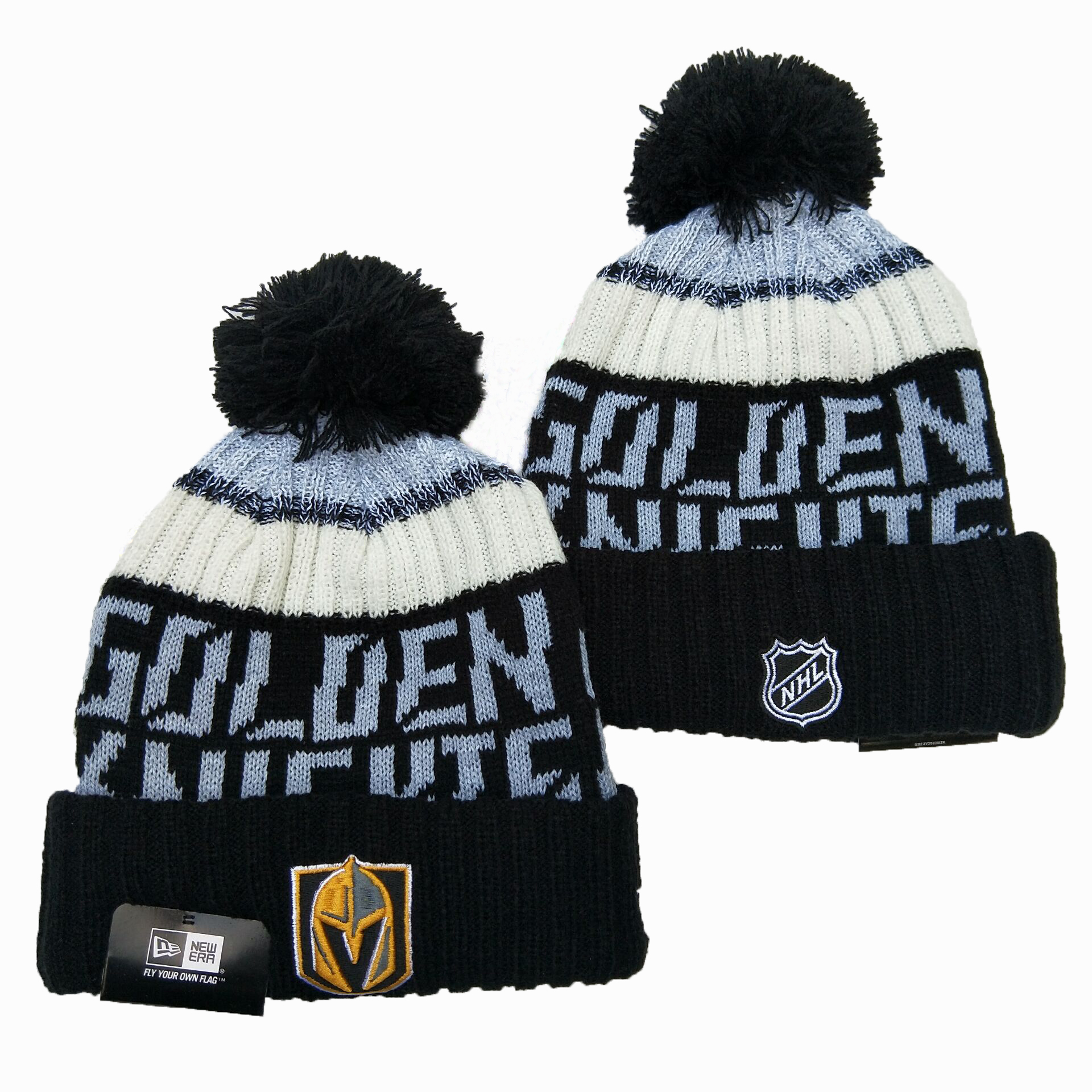 Vegas Golden Knights Team Logo Black Pom Knit Hat YD