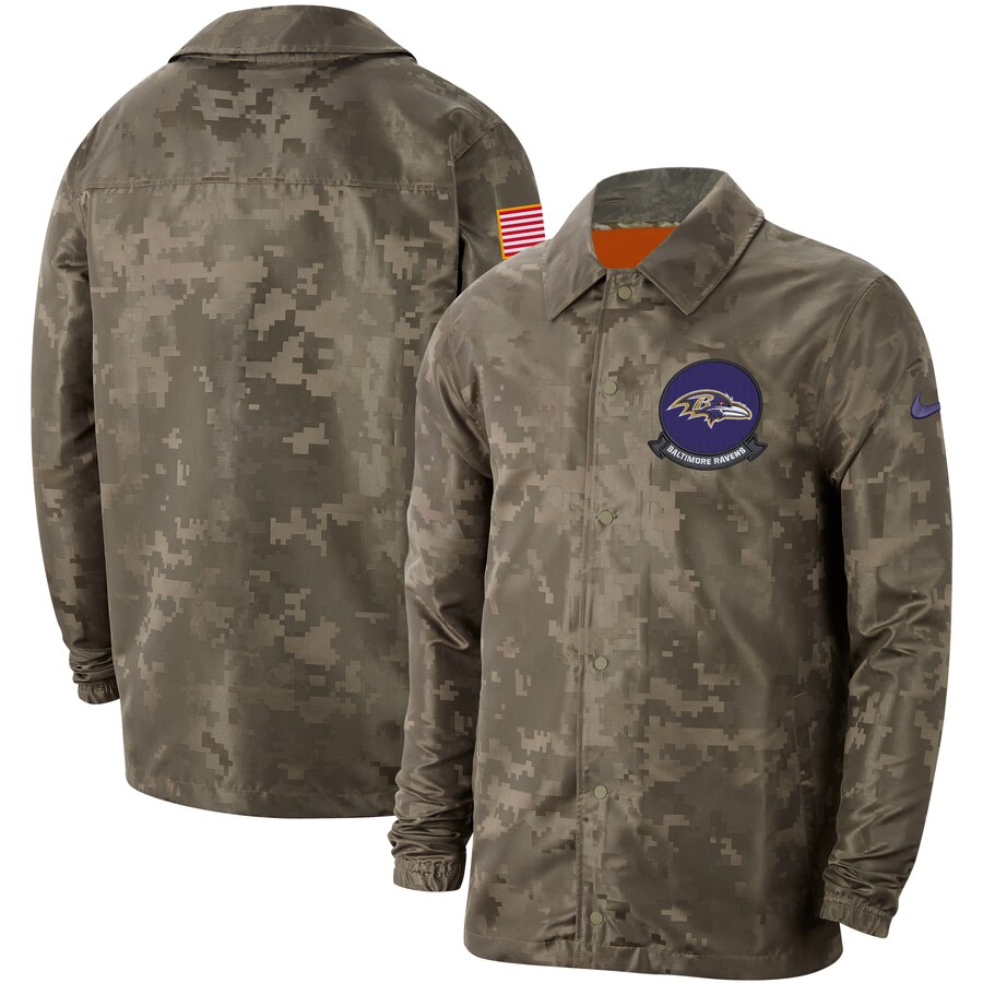 Men's Baltimore Ravens Nike Camo 2019 Salute to Service Sideline Full Zip Lightweight Jacket