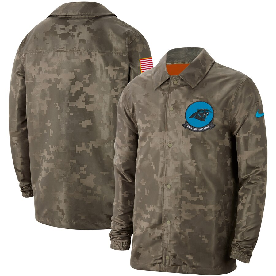 Men's Carolina Panthers Nike Camo 2019 Salute to Service Sideline Full Zip Lightweight Jacket