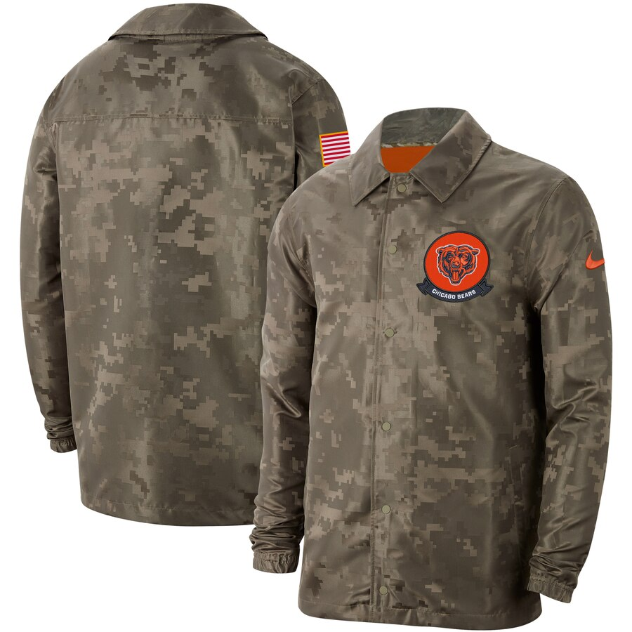Men's Chicago Bears Nike Camo 2019 Salute to Service Sideline Full Zip Lightweight Jacket