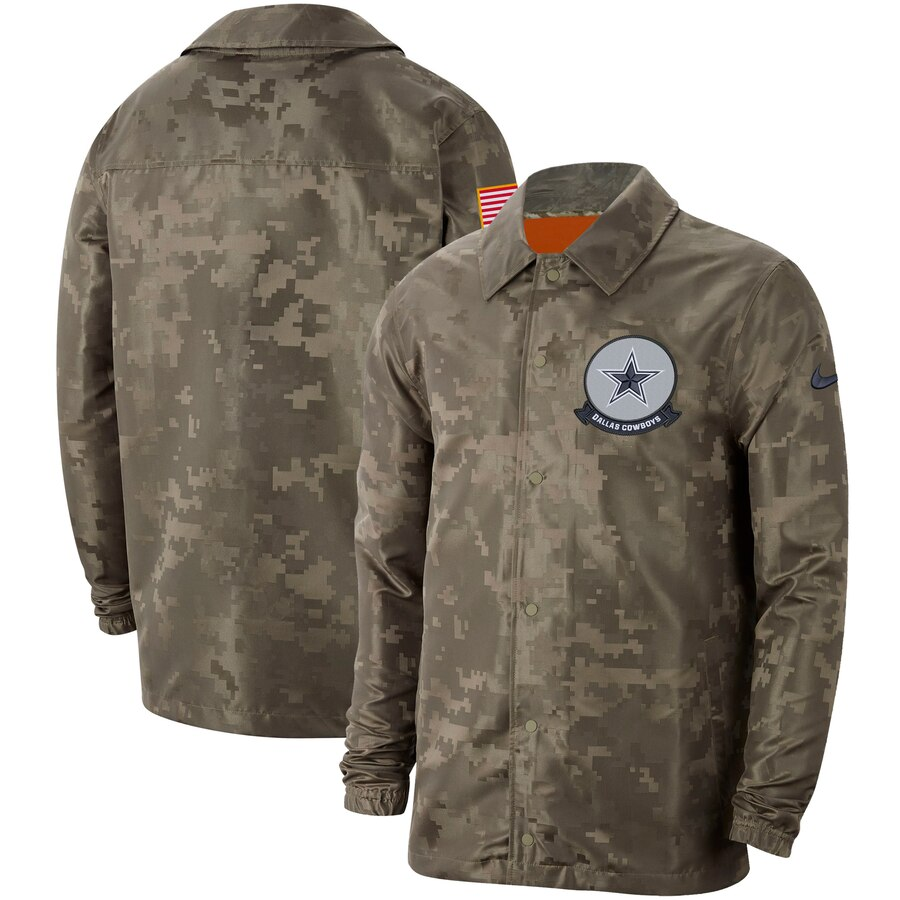 Men's Dallas Cowboys Nike Camo 2019 Salute to Service Sideline Full Zip Lightweight Jacket