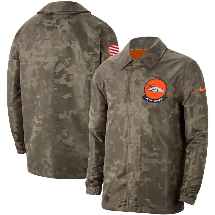 Men's Denver Broncos Nike Camo 2019 Salute to Service Sideline Full Zip Lightweight Jacket
