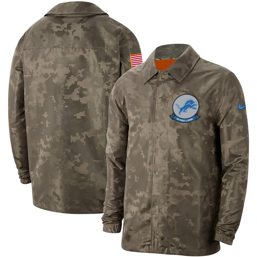 Men's Detroit Lions Nike Camo 2019 Salute to Service Sideline Full Zip Lightweight Jacket