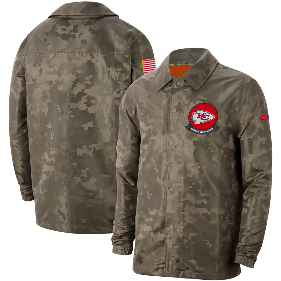 Men's Kansas City Chiefs Nike Camo 2019 Salute to Service Sideline Full Zip Lightweight Jacket