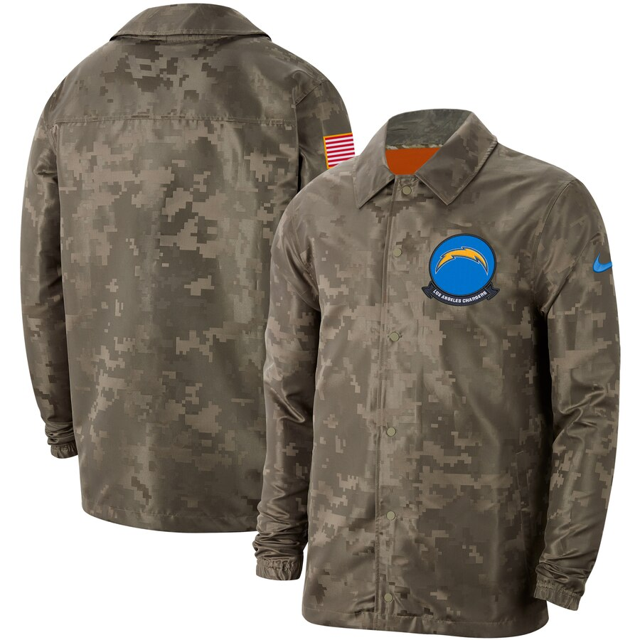 Men's Los Angeles Chargers Nike Camo 2019 Salute to Service Sideline Full Zip Lightweight Jacket