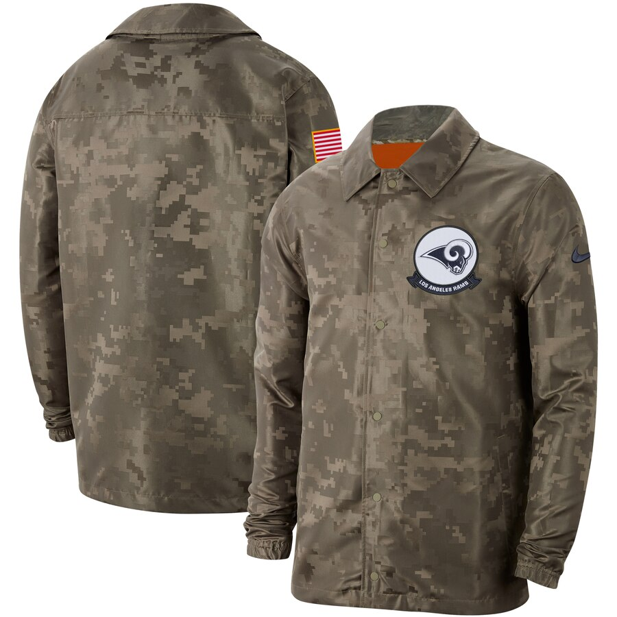 Men's Los Angeles Rams Nike Camo 2019 Salute to Service Sideline Full Zip Lightweight Jacket