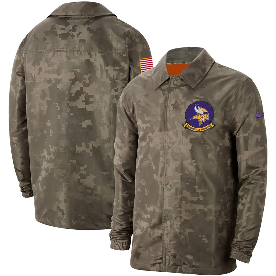 Men's Minnesota Vikings Nike Camo 2019 Salute to Service Sideline Full Zip Lightweight Jacket