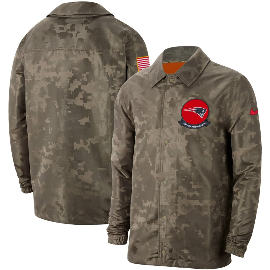Men's New England Patriots Nike Camo 2019 Salute to Service Sideline Full Zip Lightweight Jacket