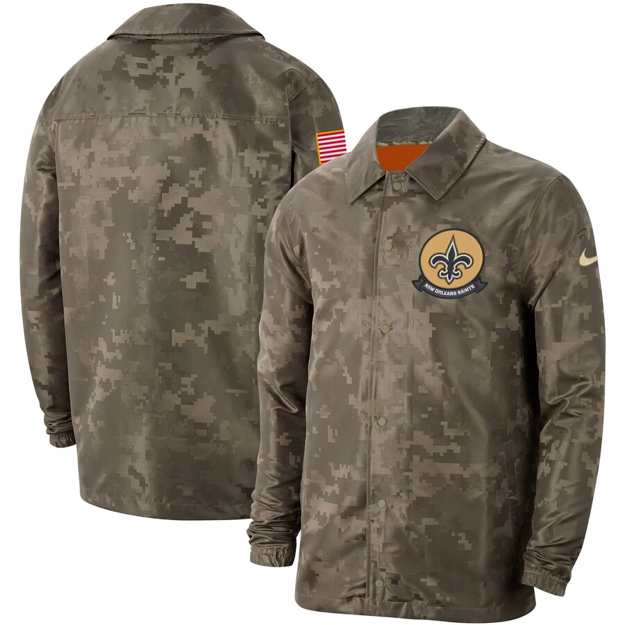 Men's New Orleans Saints Nike Camo 2019 Salute to Service Sideline Full Zip Lightweight Jacket