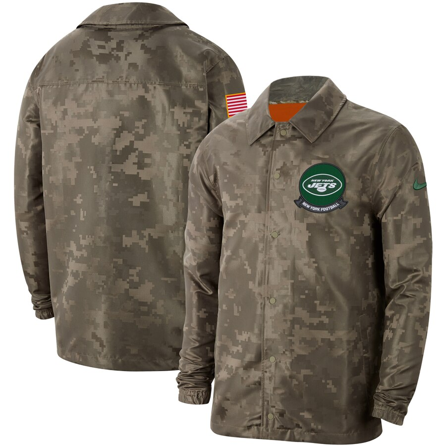 Men's New York Jets Nike Camo 2019 Salute to Service Sideline Full Zip Lightweight Jacket