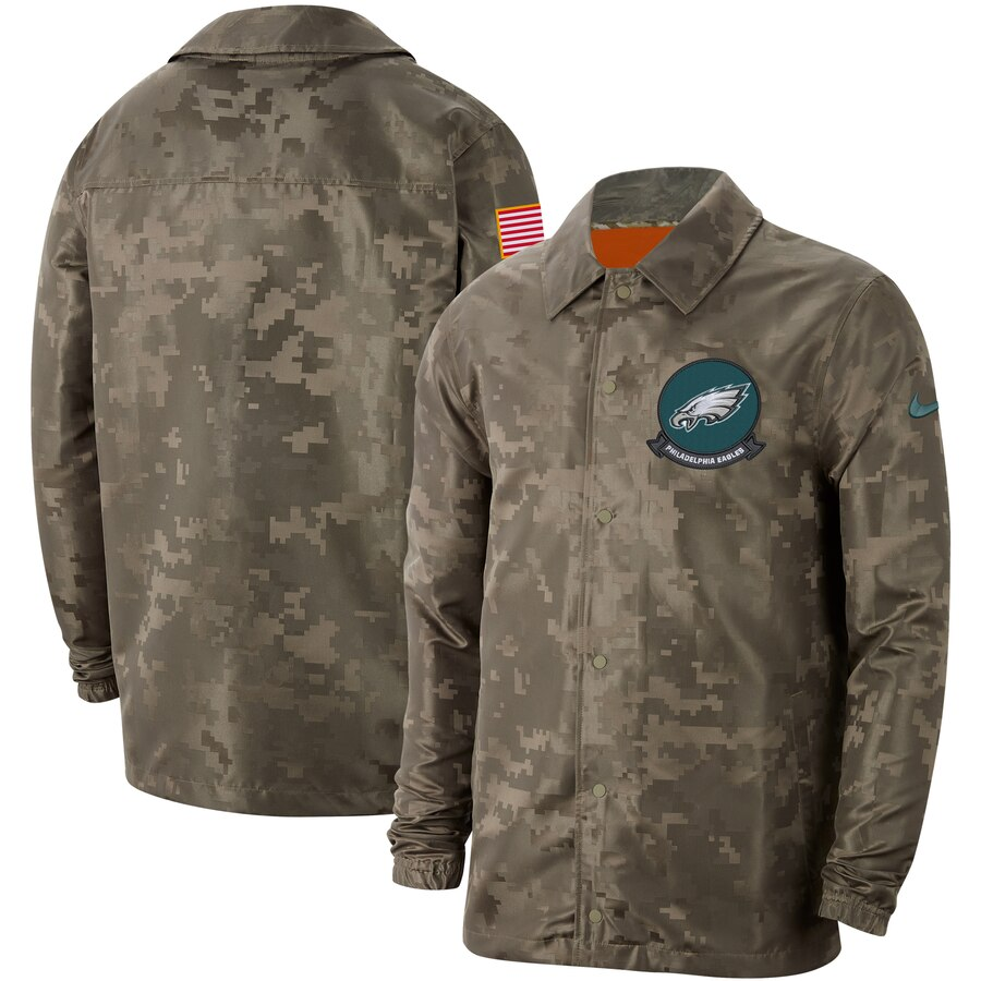 Men's Philadelphia Eagles Nike Camo 2019 Salute to Service Sideline Full Zip Lightweight Jacket