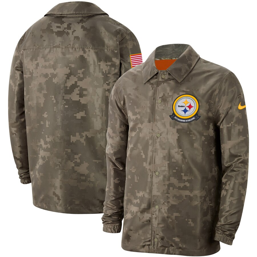 Men's Pittsburgh Steelers Nike Camo 2019 Salute to Service Sideline Full Zip Lightweight Jacket